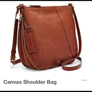 BNWT 100% AUTHENTIC FOSSIL-BROWN leather crossbody